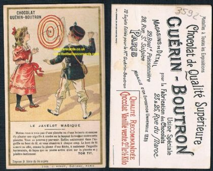1890s French darts trade card dart board players Guerin Boutron